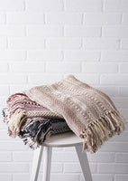 "DII Farmhouse Cotton Stripe Blanket Throw with Fringe For Chair, Couch, Picnic, Camping, Beach, & Everyday Use , 50 x 60"" - Braided Stripe Stone"