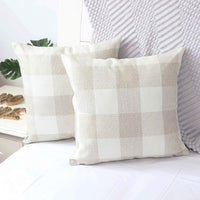 NAVIBULE Pack of 2 Farmhouse Buffalo Plaid Cream Pillow Covers Cotton Linen Rustic Check Home Decor Tan Throw Pillow Cushion Cases 18x18IN