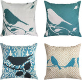 LAZAMYASA 4-Pack 18x18 Pillowcases Cotton Linen Decorative Throw Pillow Covers Letter Vintage Floral Bird Mediterranean Style Square Cushion Cover