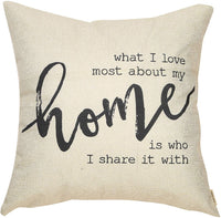 "Fjfz Rustic Farmhouse Decor What I Love Most About My Home is Who I Share it with Family Sign Decoration Cotton Linen Home Decorative Throw Pillow Case Cushion Cove for Sofa Couch, 18"" x18"""