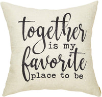 Fahrendom Rustic Decoration Together is My Favorite Place to Be Farmhouse Décor Sweet Home Sign Cotton Linen Home Decorative Throw Pillow Case Cushion Cover with Words for Sofa Couch 18 x 18 in