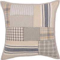 "Piper Classics Mill Creek Patchwork Throw Pillow Cover, 20"" x 20"", Modern Farmhouse Style Accent Pillow, Country Patchwork Quilted, Grain Sack Stripe, Ticking & Plaid Fabrics, 100% Cotton …"