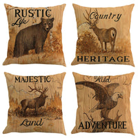 Linen Animal single-sided printed pillowcase Rustic Style Decorative Throw Pillow Cover Old-Fashioned Pillowcase For Home