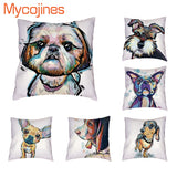 Pug Shepherd Dog Pillowcase Oil Painting Parity Cushion Covers Rustic Coffee School 18Inch Home Office Decorative Pillows Cojin
