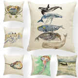 Animal Whale Ocean Wave Cushion Cover Pillow Case Palm Tree Pillow Case Rustic Crab Decoration Dakimakura  Polyest  Painted