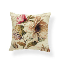 Hydrangea Butterfly Cushion Case Plant Dandelion Pillow Cushions Rustic Settee Lumbar Support Throw Pillow Cover 17.7Inch Burlap