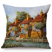Beautiful Countryside Scenery Happy Cottage Childhood Memory Oil Painting Home Decor Throw Pillow Case Sofa Chair Cushion Cover