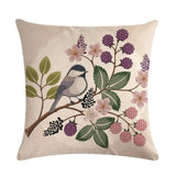 Romantic Cotton Linen Decoration For Home Throw Pillow Cover Cushion Cover European Bird Animal Rustic Pillow Cover Game 45*45cm