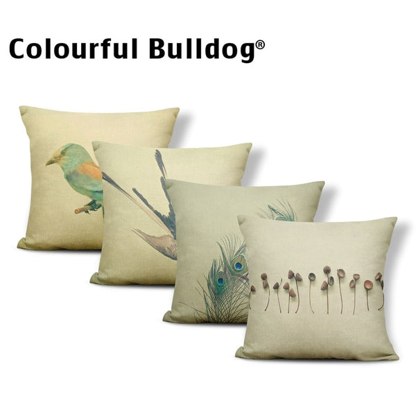 Animal Cushion Cover Bird Dinosaur Pillow Case Round Rustic Country Couch Decorations Yellow Dakimakura Tiger 17.7Inch Polyester