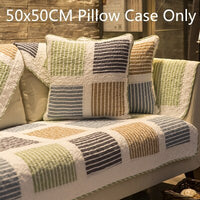 DUNXDECO Cushion Cover Pillow Case 50x50CM Rustic Check Quilted Coussin Sofa Bedding Room Decorating Textile