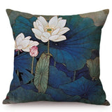 Chinese Classical Lotus Style Cushion Cover Vintage Ink Painting Art Rustic Flowers Home Decoration Car Sofa Throw Pillows Cover