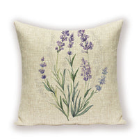 Lavender Pillow Covers Rustic Style Cushion Cover Spring Flower Pillowcase Nordic Throw Pillows Linen Living Room Cushions