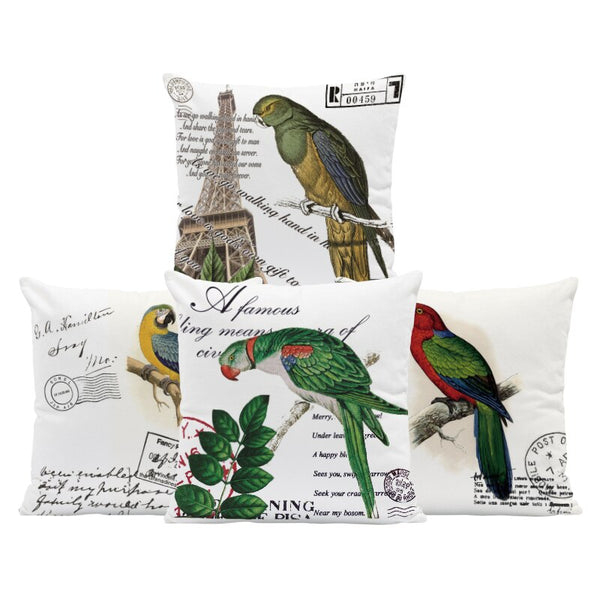 Animal Bird Parrot Cushion Cover Stamp Macaw Letter Pillowcase Rustic Country Bookcase For Sofa Throw Pillow Case 18 Inch Velvet