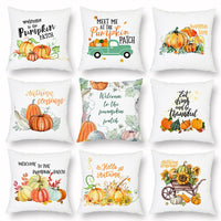 Happy Thanksgiving Day Soft Pumpkin Pillow Case Waist Cushion Cover Home Decoration Autumn Harvest Pumpkin Rustic Cushion Cover