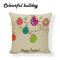 Cool Happy Easter Bunny Toss Pillow Rustic Country Pillow Covers Floor 18 Inch Without Inner Decorativa Colored Egg Throw Pillow