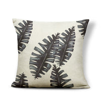 Leaves Cushion Cover Pillow Case Black Palm Tree Pillow Case Cover Rustic Country Home Accessories Toss Pillow 17X17 Cotton Line