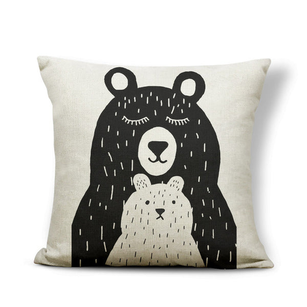 Animal Bear Cushion Cover Mountain Pillow Case Cover Rustic Country Man Cave Decor Home Throw Pillow Case Small Burlap Designer
