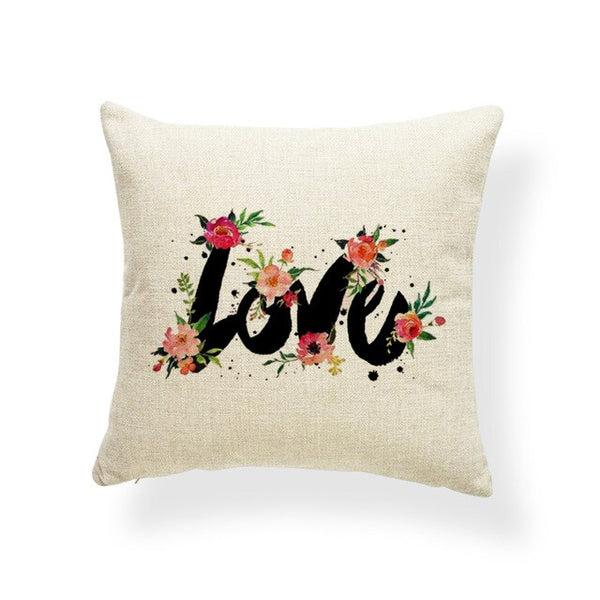 Word Flowers Cushion Covers Love Sentence Watercolor Pillow Case Rustic Settee Lumbar Support Throw Pillow Cover 17.7Inch Burlap