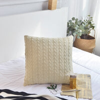 Rustic Style Knitted Cushion Cover 45*45cm Cable Knitting Seat Cushion 100% Cotton Bed Pillow Cover Home/Car Decor