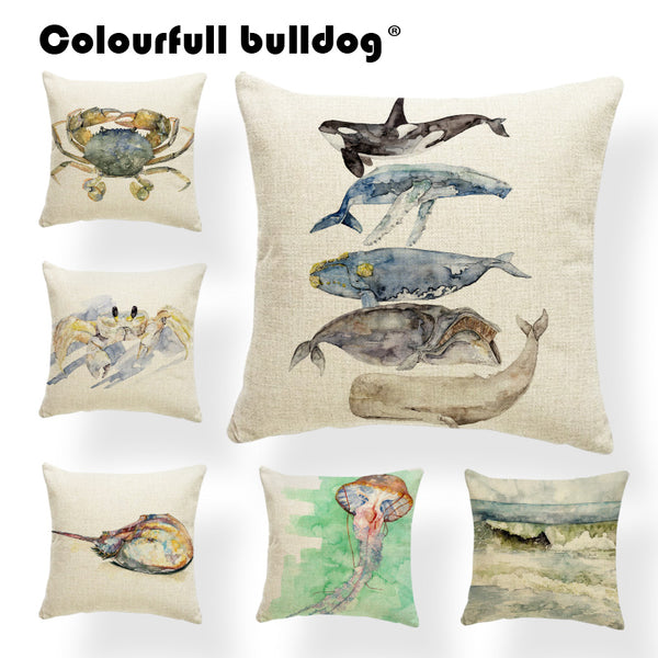 Animal Whale Ocean Wave Cushion Cover Pillow Case Palm Tree Pillow Case Rustic Crab Decoration Dakimakura 43cm Polyester Painted