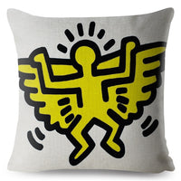 Keith Haring Heart Graffiti Cushion Cover Beige Linen Pillowcase 45*45 Square Throw Pillows Covers Sofa Home Decor Pillow Case