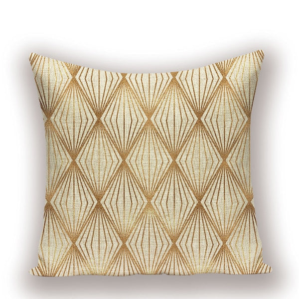 Rustic Style Cover Pillows Gold Cover Cushion Kissen Simple Style Decorative Pillowcase Shabby Chic Geometric Decor Cushions