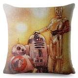 Movie Star Wars Print Pillow Cover 45*45cm Square Cushion Cover Beige Linen Throw Pillows Cases Sofa Home Decor Cushion Covers