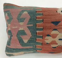10x20 Kilim Pillow Cover Handmade Tribal Oushak Vintage Wool Lumbar Cushion A139