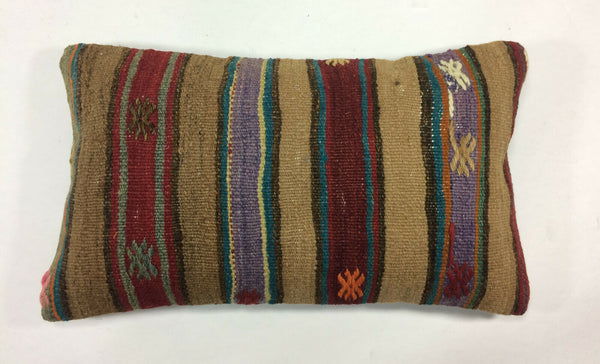 "12""x20"" Kilim Pillow Cover Turkish Vintage Handmade Striped Lumbar Cushion 1209"