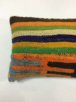 "12""x20"" Kilim Lumbar Cushion Turkish Ethnic Throw Colorful Pillow Cover A40"