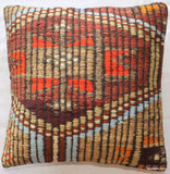 (40*40cm, 16inch) Rustic Style handwoven kilim cushion cover brocaded textured