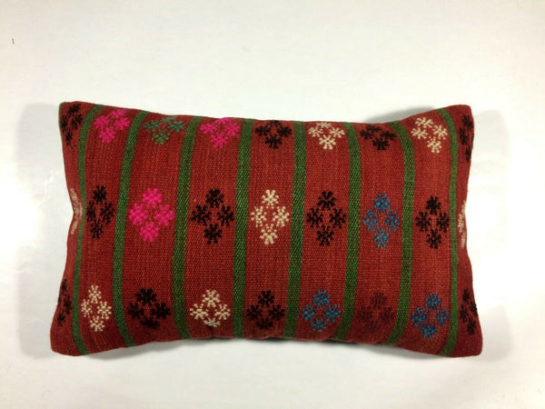 12x20 Turkish Kilim Lumbar Pillow Cover Vintage Handmade Cushion 448