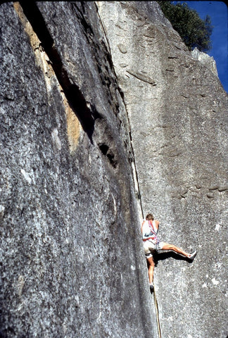 "Dave Yerian floating ""Anathema"" 5.10b – Cookie Cliff"