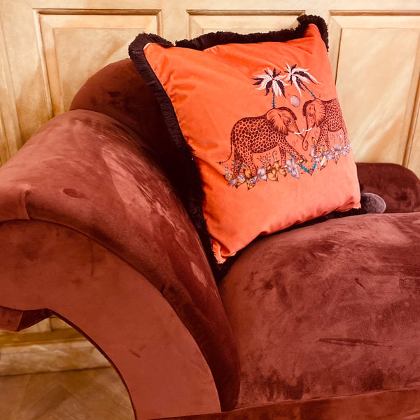 Elephant Velvet Cushion