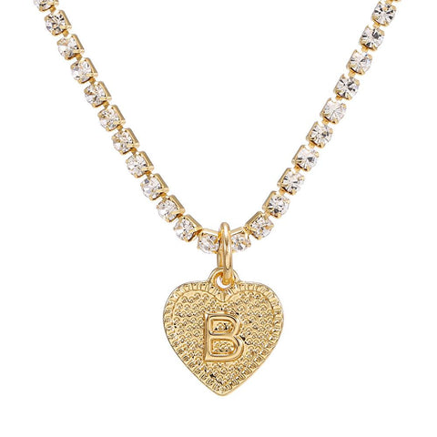 Heart CZ Diamond A-Z Alphabe Initial Letter Necklace
