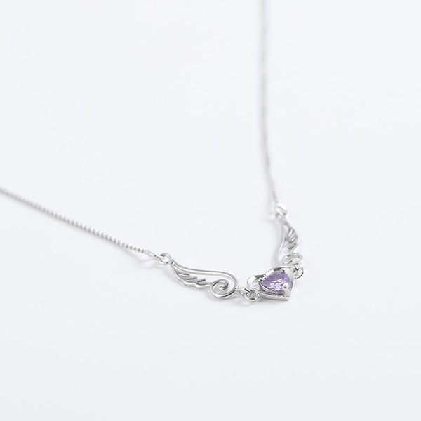 Heart Wings CZ Diamond Silver Necklace