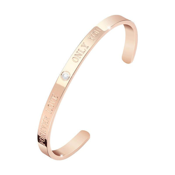 Forever Love Engraved Real Diamond Bracelet