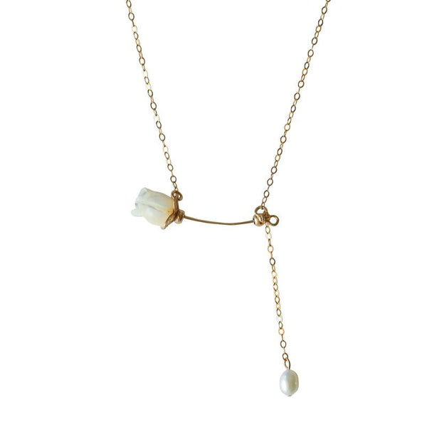 Rose Pearl Drop Necklace