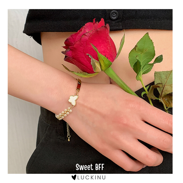 """Sweet BFF"" Pearl Butterfly Gold Plated Bracelet"