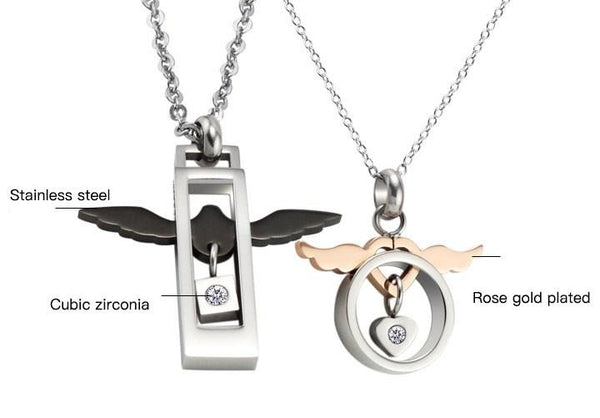 Angels Love Heart Wings Couple Necklace