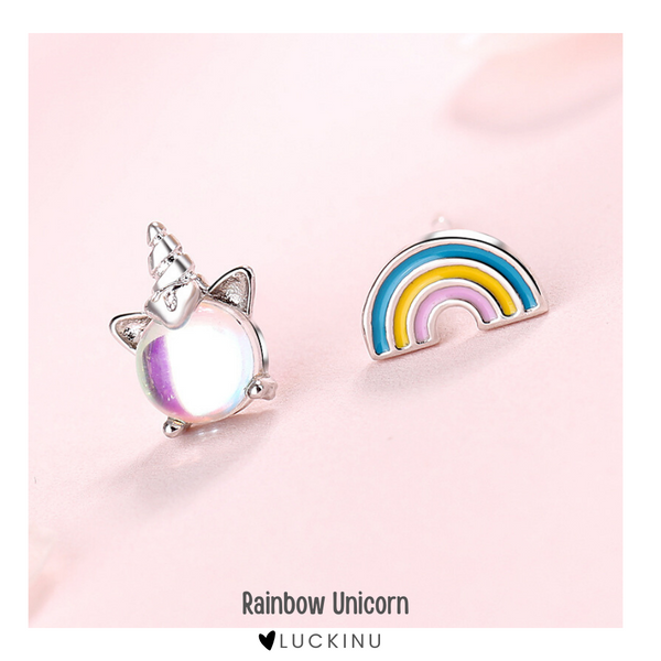 """Rainbow Unicorn"" Sterling Silver Earring"