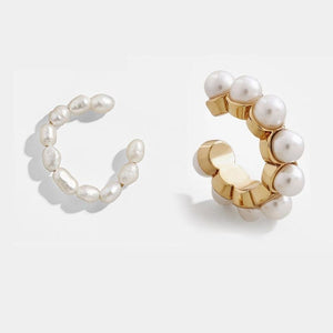 Style 2 CZ Diamond Pearl Ear Cuff Stackable 2pcs/set