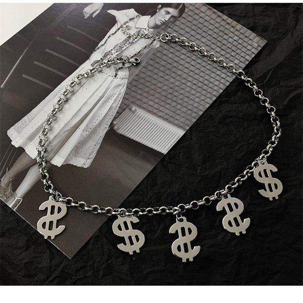 Dollar Symbol Titanium Steel Choker Necklace No Fade