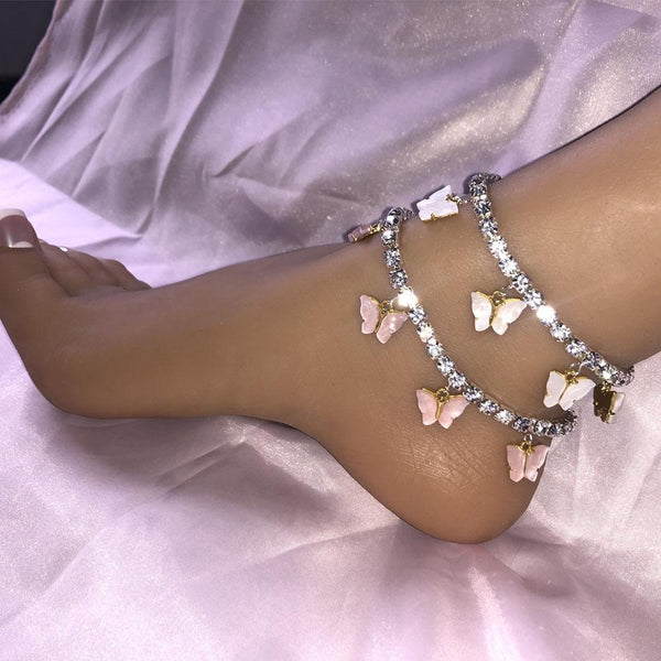 5 Resin Butterfly Rhinestones Cute Anklet