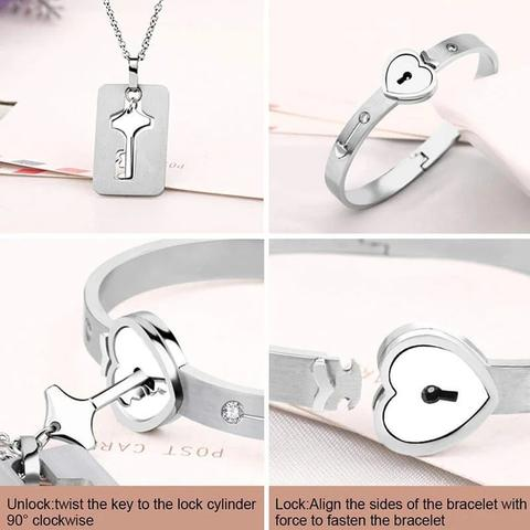 """This is us"" Lock Bracelet Key Necklace Sets Include box-Jewelry-luckinu"