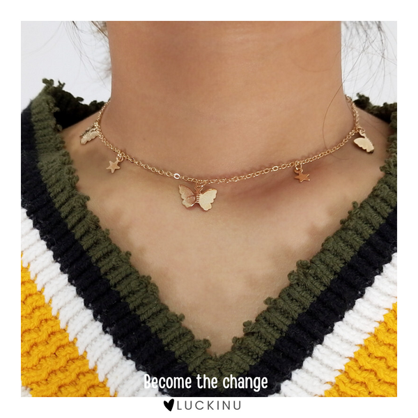 """Become the change"" Butterfly & Stars Necklace-Jewelry-luckinu"