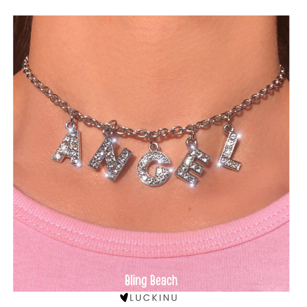 """Bling Beach"" Angel Letter Necklace-Custom letters available-Jewelry-luckinu"