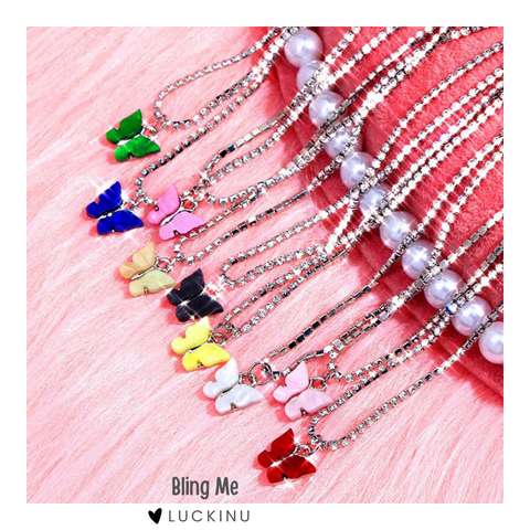 """Bling Me"" Butterfly Choker Necklace 4 Colors-Jewelry-luckinu"