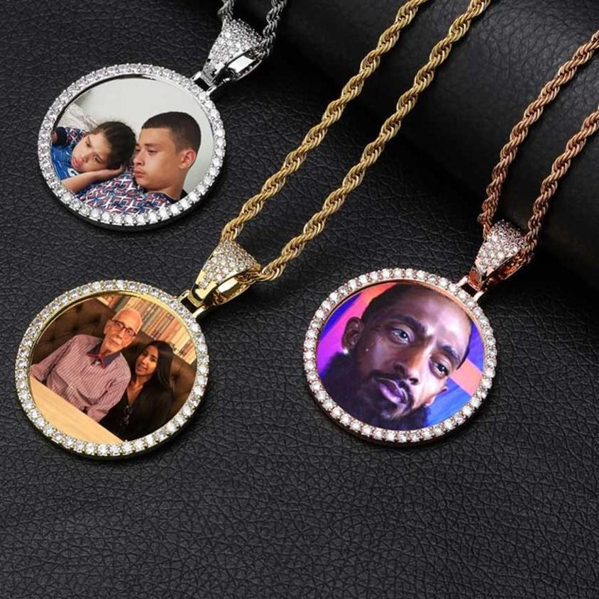 Custom Made Round Photo Locket Necklace Men Gift