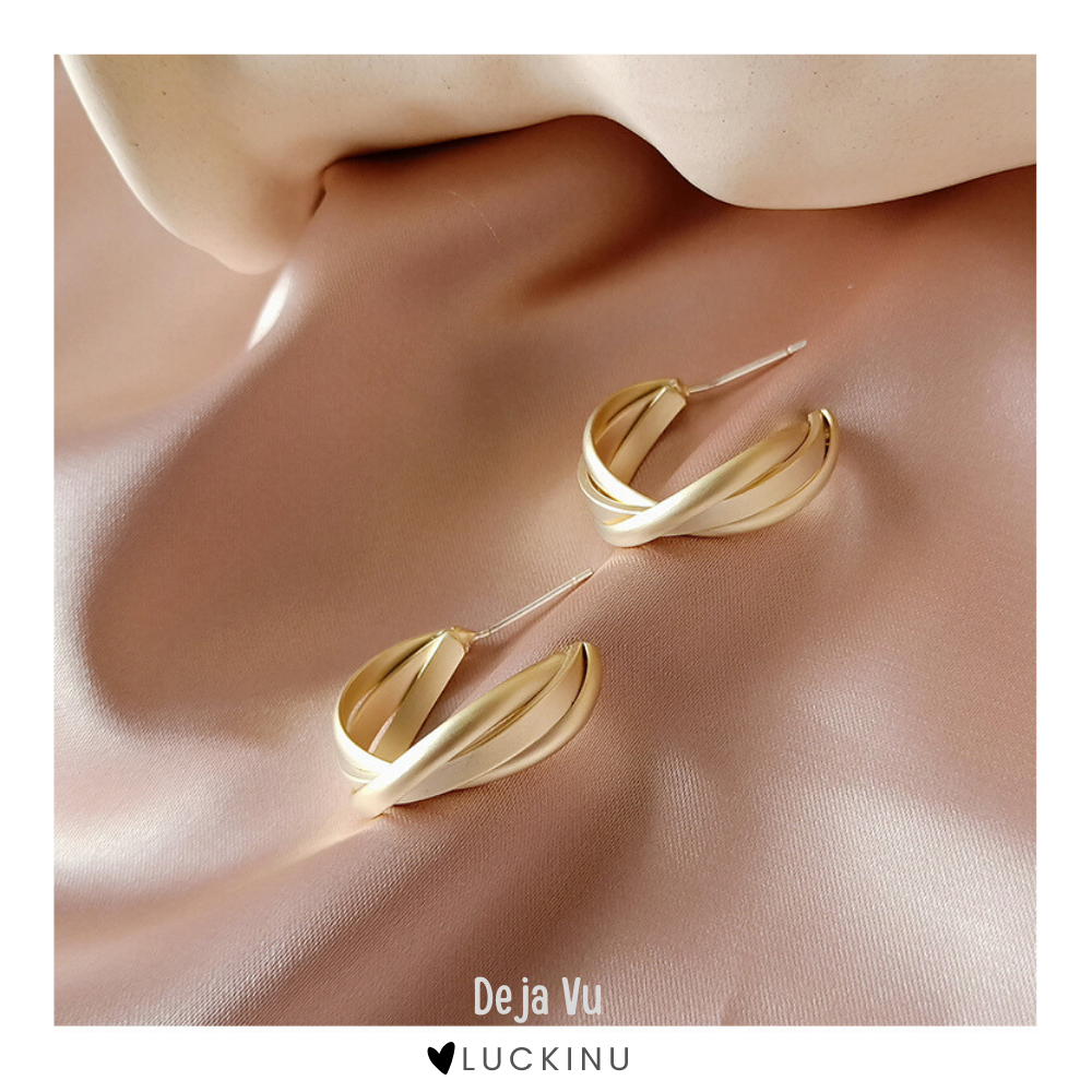 """Deja Vu"" 14k Gold Plated Earring-Jewelry-luckinu"
